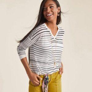 CAbi Black & White Striped Captain Sweater - XS